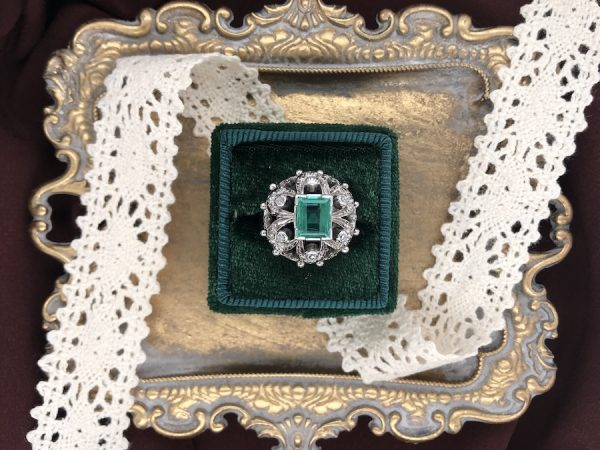 1930s Colombian Emerald & Diamond Ring in 18K White Gold