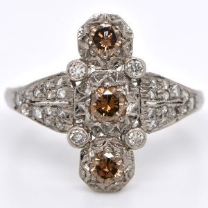 Natural Fancy Cognac and White Diamond Vertical Three-Stone Art Deco Ring in 18K White Gold