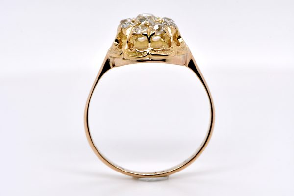 Victorian Old Mine Cut Diamond Cluster Ring in 18K Yellow Gold